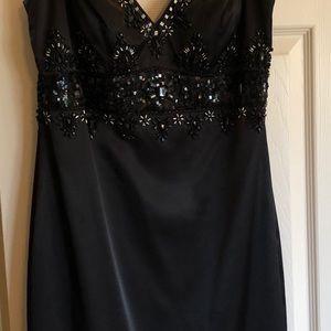 Beautiful beaded bodice black cocktail dress